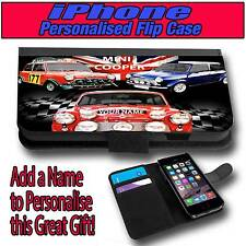 PERSONALISED MINI COOPER iPHONE 4 s 5 s 5 c LEATHER FLIP CASE