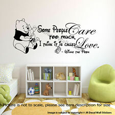 WINNIE THE POOH WALL ART QUOTE STICKER Nursery Piglet Pooh Loved Quote Decals