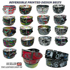 40mm Printed Design Reversible Metal Turning Buckle Belt In All Sizes