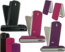NEW BLACK PINK PURPLE LEATHER FLIP PHONE CASE COVER FOR FITS NOKIA 515