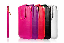 PU Leather Pouch Case Cover With Magnetic Flip Pull Tab For All Smart