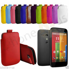 Premium PU Leather Pull Tab Case Cover Pouch For Motorola Moto G