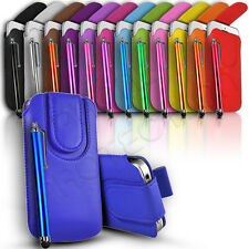 Button Premium PU Leather Pull Tab Case Cover & Stylus For Various Nok