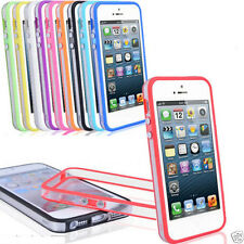 FOR APPLE iPhone 5 5S TPU Gel Transparent Bumper Case Cover with Metal