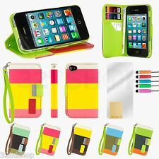 STAND WALLET LEATHER CASE COVER FOR Apple iPhone 5/5S  SCREEN PROTECTO
