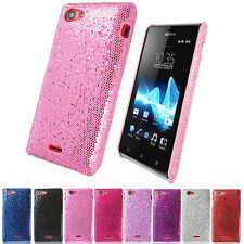 NEW HARD SPARKLING GLITTER CASE COVER FOR SONY XPERIA J ST26I