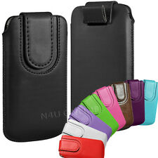 PREMIUM PU LEATHER PULL FLIP TAB CASE COVER POUCH WITH STRAP FOR APPLE