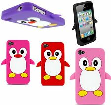 Penguin Silicone case for Apple iPhone 4G 4S , trendy new stylish+Free
