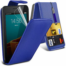 PU Leather Card Slot Flip Case Cover, LCD Film & Pen For Vodafone Smar