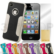 Luxury Brushed Aluminum Chrome Hard Case Cover For iPhone 4S 4 Screen