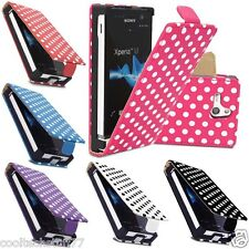 Stylish Polka Dots For Sony Ericsson Xperia S P U Leather Flip Mobile