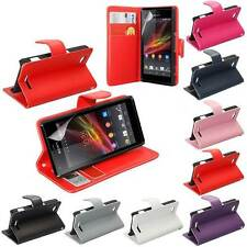 SONY XPERIA-M C1904 SIDE OPENING WALLET FLIP PU LEATHER CASE COVER+SCR