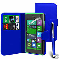Blue PU Leather Wallet Flip Case Cover, LCD Film & Pen For Various Pho