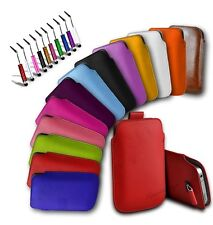 APPLE iPHONE  4S/4G- PU LEATHER PULL TAB CASE  POUCH + MINI STYLUS+ SC