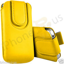 Yellow Magnetic PU Leather Pull Tab Flip Case Cover For Various Nokia