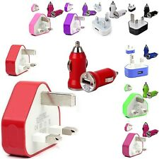 CE COLOUR WALL MAINS USB+CAR BULLET CHARGER FOR SAMSUNG GALAXY ACE PLU