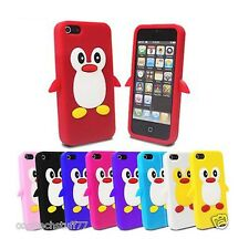 For Apple iPhone 5 Cute Penguin Silicone Skin Case Cover + Free Screen