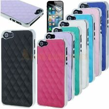 Chrome Design Diamond Pattern Leather Case Cover Skin For New iPhone 5