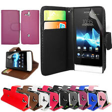 NEW PU LEATHER WALLET CASE COVER FOR SONY XPERIA-U ST25i+SCREEN FILM