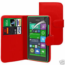 Red PU Leather Wallet Flip Case Cover & Screen Guard For Various Phone