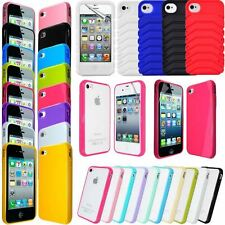 NEW FOR IPHONE 4S 4G SOLID GLOSSY SILICONE GEL BUMPER PC BACK CASE COV