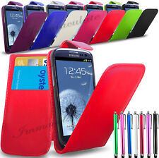 SAMSUNG GALAXY S3 i9300- PU LEATHER FLIP CASE COVER + LONG STYLUS + SC