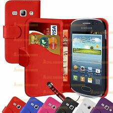 Book PU Leather Flip Wallet Case Cover Pouch For Samsung Galaxy Fame S