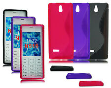 BLACK PINK PURPLE S LINE GEL SILICONE PHONE CASE COVER FOR NOKIA 515 D