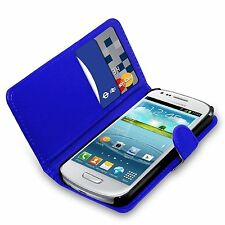 Blue Flip Leather Wallet Case & Film For Various Samsung Galaxy Mobile