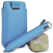 BABY BLUE PULL TAB LEATHER POUCH SKIN COVER SLEEVE PU HOLSTER FOR VARI
