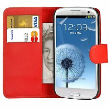 Red Flip Leather Wallet Case & Film For Various Samsung Galaxy Mobile