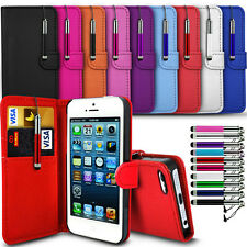 For Apple iPhone Wallet Flip Case Cover with Card Slot & Retractable P