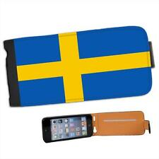 Sweden Flag Leather Flip Case for Apple iPhone 5s