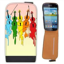 Multi Coloured Violins With Paint Splash Leather Flip Case for Samsung
