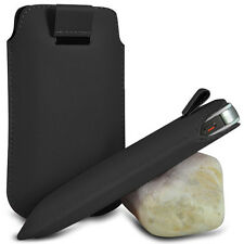 BLACK PULL TAB LEATHER POUCH SKIN COVER CASE SLEEVE PU HOLSTER FOR VAR