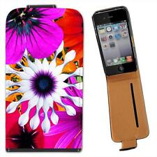 Bunch of Large Multi Coloured Flowers Orange Purple Leather Case for i