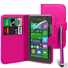 Pink PU Leather Wallet Flip Case Cover, LCD Film & Pen For Various Pho