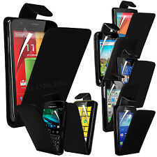 Black Premium PU Leather Flip Case Cover Pouch & LCD Film For Various