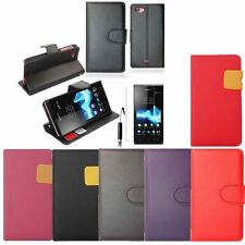 BOOK FLIP LEATHER CASE COVER FOR SONY XPERIA J ST26i FREE SP+STYLUS