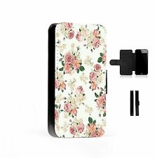 Floral Printed Faux Leather Flip Phone Case Cover Wallet Roses Flowers