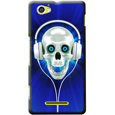 Skull With Headphones Hard Case For Sony Xperia E & M Phone Models