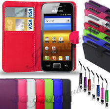 SAMSUNG GALAXY ACE S5830-PU LEATHER WALLET CASE COVER+MINI STYLUS +SCR