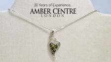 Green Baltic Amber Heart Pendant 925 Silver-PE0067  RRP£40 + Free Chain!!!