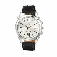 Unisex Stainless Steel Dail Leather Band Analog Quartz Sport Wrist Watch New