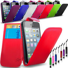 APPLE iPHONE 5S/5G - PU LEATHER FLIP CASE COVER POUCH + MINI STYLUS+SC