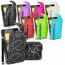 Bling Diamond Flip Leather Case Cover For Nokia Lumia 520 +Screen Guar