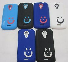 Micromax Canvas hd A 116  Soft Silicon Smiley Back Cover Cases/Tempered Glass