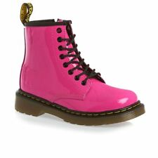 Dr Martens Delaney 8 eyelet Boot Hot Pink Patent Leather with laces and zip