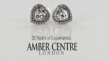 GENUINE PANDORA HEART SILVER STUD EARRINGS WITH CUBIC ZIRCONIA-290568CZ RRP£60