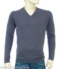 Pull lin coton col V gris ardoise HARRIS WILSON homme Theodore Taille S